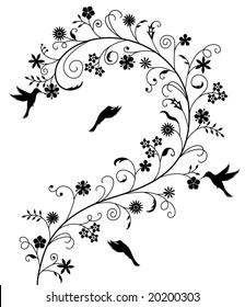 Elegant flower pattern with birds.