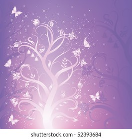 Elegant flower pattern with butterflies on the violet background.