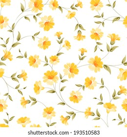 Elegant flowers fabric, seampless pattern. Vector illustration.