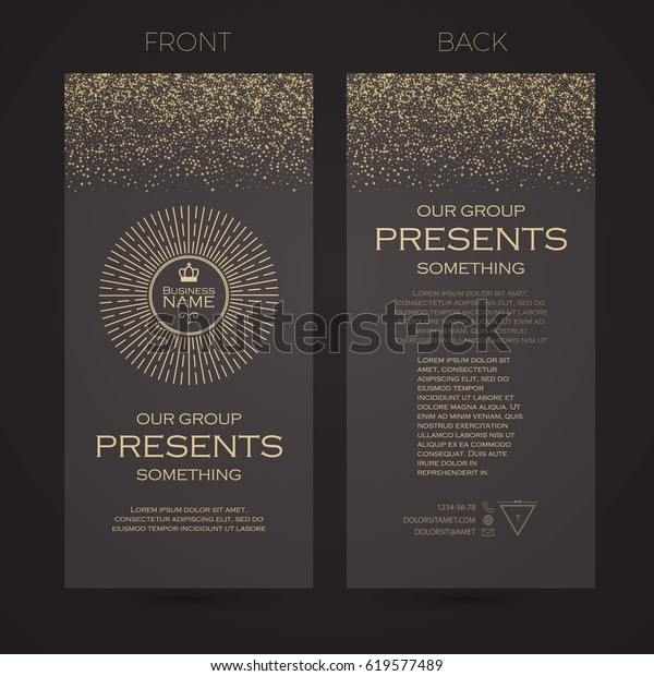 Elegant Flyer Template. Cover, Booklet, Greeting Card and Poster Retro Gold Design. Premium Invitation Cards. Vector illustration