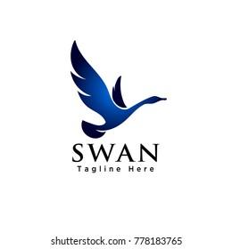 elegant Flying swan bird logo