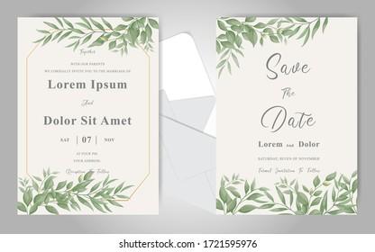Elegant foliage frame wedding invitation card set