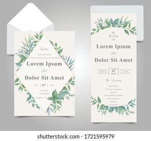 Elegant foliage frame wedding invitation card set