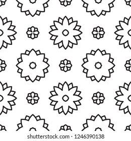 Elegant folk floral black and white  geometric motif. Minimal allover vector illustration for interior, wallpaper, fabric, textile, phone case. Modern linear doodle design. Simple graphic print.