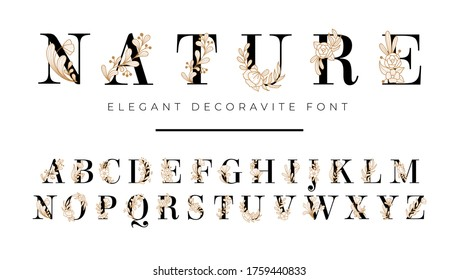 Elegant font with floral decoration on letters vector illustration. Nature inscription with blooming flowers flat style. Alphabet from a to z. Isolated on white background