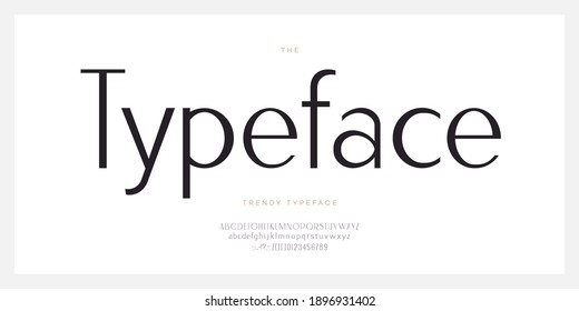 Elegant font sans serif style modern typography letters and number. Uppercase and lowercase letters. Minimal luxure alphabet for promotion, video, decoration, logo, poster, book, printing. Vector - Shutterstock ID 1896931402