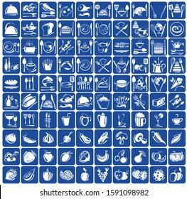 Elegant Food Icons Set. Kitchen Icons Set for Web