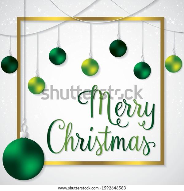 Elegant frame bauble Christmas card in vector format.