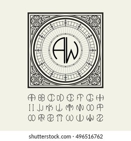 Elegant frame template Victorian style and set to create a monograph, logos, emblems of the two letters.
