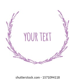 Elegant frame or wreath of lavender  blossom in form of laurel wreath with copy space for wedding card, logo, label. Frame with lavender flowers. Purple. Lilac. Outline. - Vector stock illustration.
