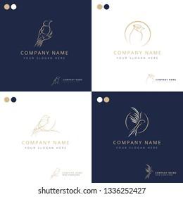 Elegant freestyle bird logos collection