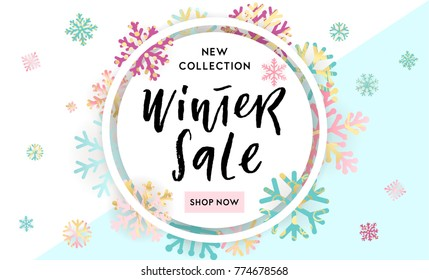 Elegant and fun Winter background design with hand drawn lettering and shiny and bright snowflakes in frame on geometric background. Fashion sale or new collection banner. Trendy vector illustration