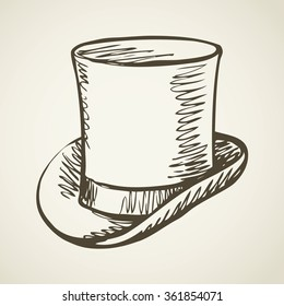 Elegant gent mr aged beaver chimney pot stove pipe kettle cap symbol isolated on white background. Freehand outline ink hand drawn doodle icon sketch pen on paper. Closeup view with space for text