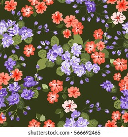 Elegant gentle trendy pattern of bouquets. Millefleurs. Liberty style. Floral seamless background for textile, cotton fabric, covers, manufacturing, wallpapers, print, gift wrap and scrapbooking.