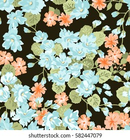 Elegant gentle trendy pattern in flower bouquets.  Liberty style. Floral seamless background for textile, cotton fabric, covers, manufacturing, wallpapers, print, gift wrap and scrapbooking.