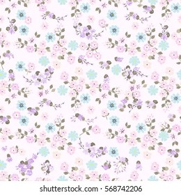 Elegant gentle trendy pattern in small-scale flower. Millefleurs. Liberty style. Floral seamless background for textile, cotton fabric, covers, wallpapers, print, gift wrap and scrapbooking.