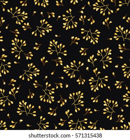 Elegant gentle trendy pattern in small-scale flower. Millefleurs. Liberty style. Golden colors. Floral seamless background for textile, cotton fabric, covers,  print, gift wrap and scrapbooking.