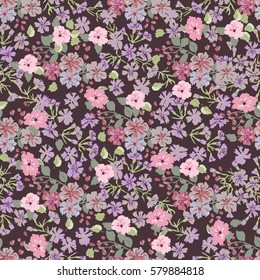 Elegant gentle trendy pattern in small-scale flower. Millefleurs. Liberty style. Floral seamless background for textile, cotton fabric, covers, manufacturing, wallpapers, print, wrap and scrapbooking.