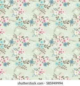 Elegant gentle trendy pattern in small-scale flower. Millefleurs. Shabby chic. Liberty style. Floral seamless background for textile, fabric, covers, wallpapers, print, gift wrap and scrapbooking.