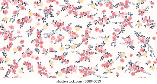 Elegant gentle trendy pattern in small-scale pink flower. Millefleurs. Liberty style. Floral seamless background for textile, cotton fabric, covers, wallpapers, print, gift wrap and scrapbooking.