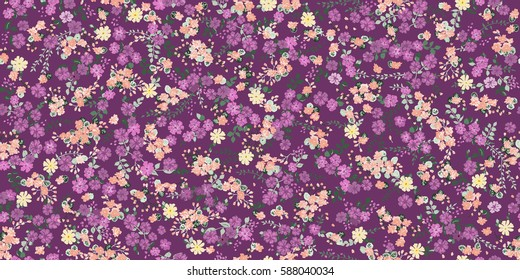 Elegant gentle trendy pattern in small-scale meadow flower. Millefleurs. Liberty style. Floral seamless background for textile, cotton fabric, covers, wallpapers, print, gift wrap and scrapbooking.