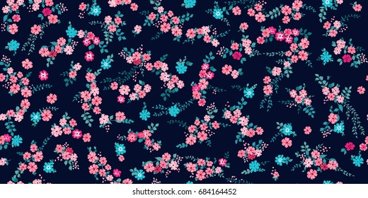 Elegant gentle trendy pattern in small-scale flower. Millefleurs. Liberty style. Floral seamless background for textile, fabric, covers, manufacturing, wallpapers, print, gift wrap and scrapbooking.