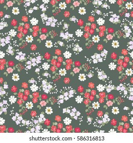 Elegant gentle trendy vintage pattern in small-scale flower. Millefleurs. Floral seamless background for textile, cotton fabric, covers, manufacturing, wallpapers, print, gift wrap and scrapbooking.