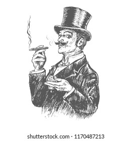 Elegant gentleman in top hat holding glass of beverage and cigar. Retro Vintage vector engraving style. Victorian Era hand drawn lineart illustration