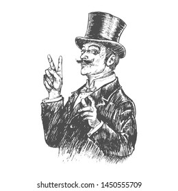 Elegant gentleman in top hat making victory V sign . Vintage engraving style. Victorian Era hand drawn vector illustration