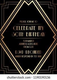 Elegant Geometric Gatsby Art Deco Invitation Design