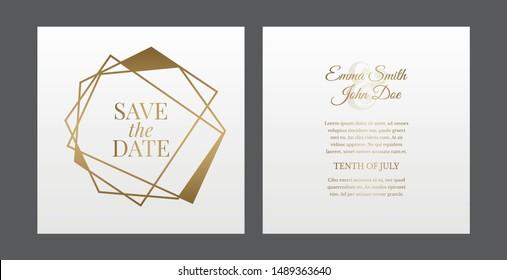 Elegant Geometric Triangle Save The Date White Invitation Design