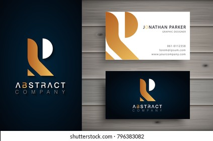 Elegant geometric vector logotype. Golden letter R logo with minimal design. Premium brand identity with business card template.