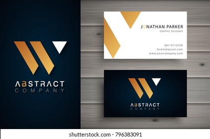 Elegant geometric vector logotype. Golden letter W logo with minimal design. Premium brand identity with business card template.