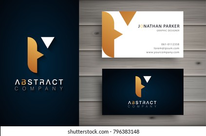 Elegant geometric vector logotype. Golden letter F logo with minimal design. Premium brand identity with business card template.