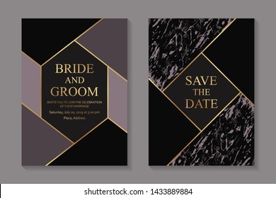 Elegant geometric wedding invitation design or greeting card templates with golden lines on a dark background with marble texture.
