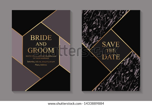 Elegant Geometric Wedding Invitation Design Greeting Stock Vector ...