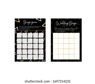 Elegant geometry bingo cards. Games for wedding reception and bridal shower. Elegant cards with gold and white triangles on the black background. Easy printable vector templates: 10*14 in