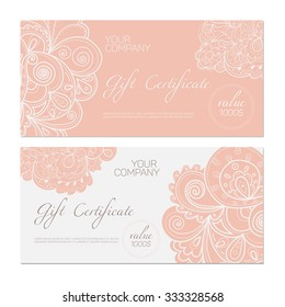Elegant gift certificate template. Abstract ornamental background.
