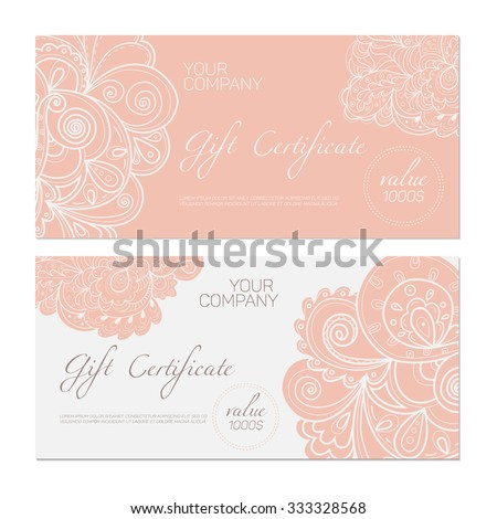 Elegant Gift Certificate Template Abstract Ornamental Stock Vector