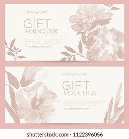 Elegant gift certificates with flowers. Pink peonies and mallow in half ton style on a light background. The template can be used for spa, cosmetics, beauty, restaurants