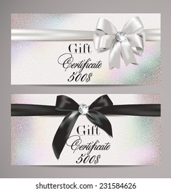 Elegant gift certificates with silk ribbons