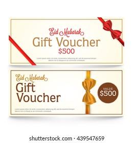 Elegant Gift Voucher, Invitation or Gift Card Template for Muslim Community Festival, Eid Mubarak Celebration.