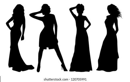 elegant girls silhouette