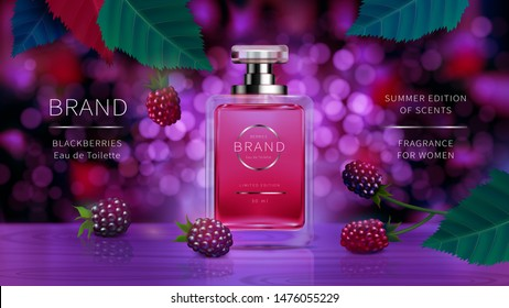 Elegant glass bottle for women perfumes with cap and wild berries, violet blackberry realistic vector. Classic packaging for fragrances and interior perfumes isolated on defocused background