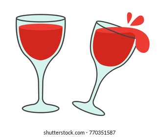 Elegant glass with vine. Wineglass filled with red wine standing still and tilted with splashes out flat vector icons isolated on white background. Sweet and aromatic alcoholic drink illustration