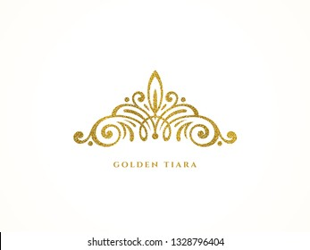 Elegant glitter gold tiara logo on white background. Vector illustration.