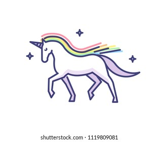 Elegant and glorious unicorn doodle style icon. Vector illustration logo of a sparkling fantasy white horse with horn and rainbow colored mane.