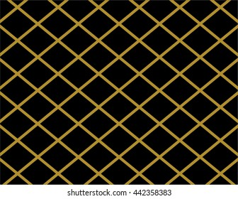 Elegant gold and black diamond background paper shape. Vector crisscross lines pattern backdrop.