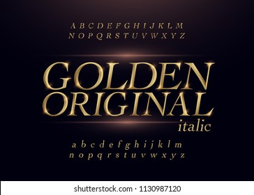 Elegant gold colored metal chrome alphabet italic font. Typography classic style golden font set for logo, Poster, Invitation. Vector illustration