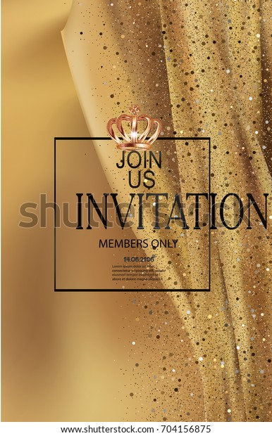 Elegant Gold Invitation Card Silk Cloth Stock Image